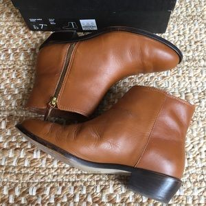 J. Crew Frankie Leather Ankle Boots In Cognac